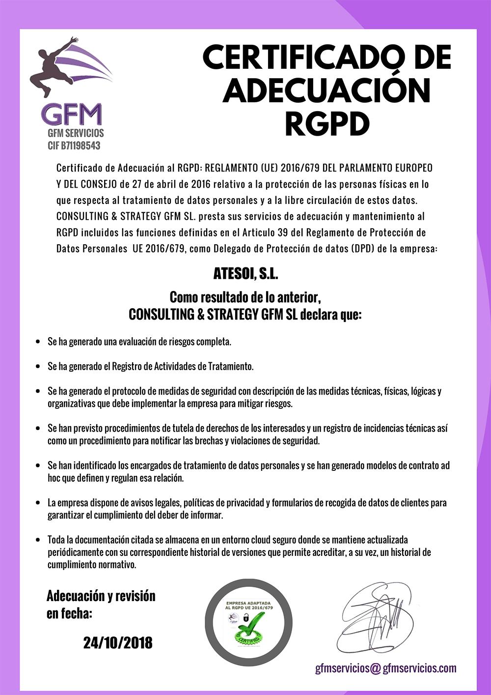 Certificado de adecuación RGPD